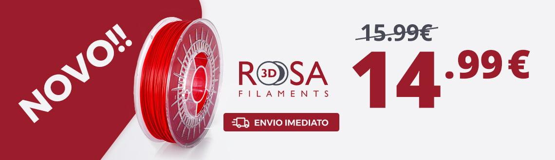 Banner de apresentacao ao filamento 3D  marca Rosa3D